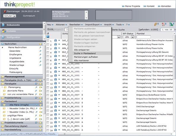 Screenshot: Die neue Benutzeroberfläche von think project