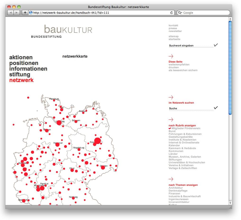 Screenshot: Die Deutschlandkarte auf netzwerk-baukultur.de