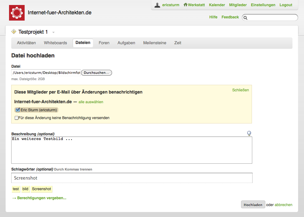 Screenshot des Online-Projektmanagment-Tools Werkstatt42: Hochladen einer Datei