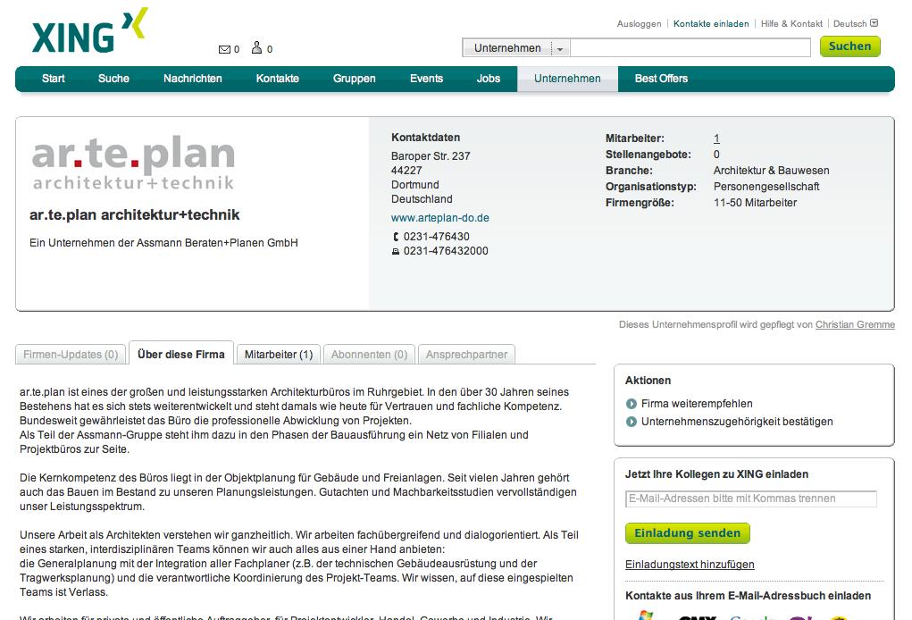 Screenshot eines Unternehmensprofils im Business-Netzwerk XING (ar.te.plan, Dortmund)