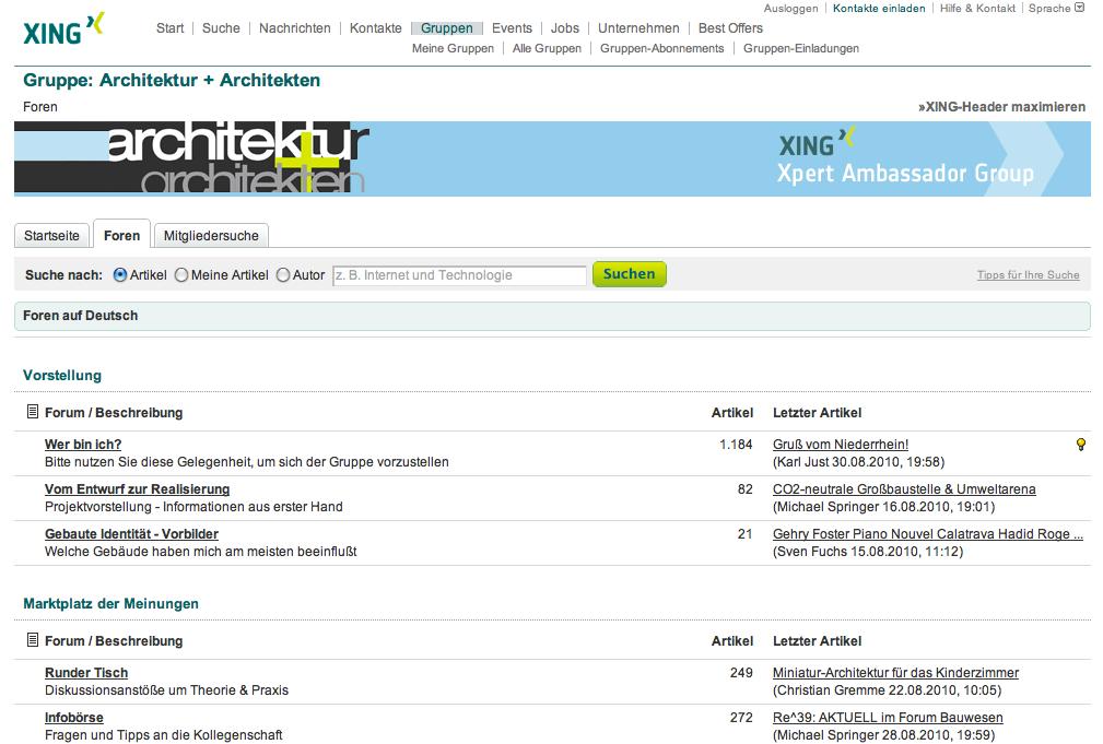 Screenshot: die Foren-Seite der Architekten-Gruppe auf XING