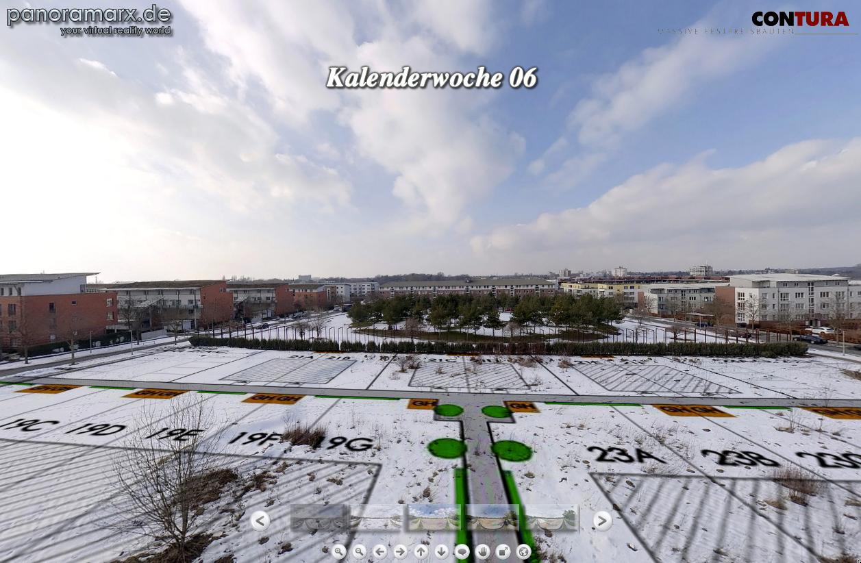 Screenshot: 360-Grad-Panorama eines Reihenhausprojektes in Hannover (Baubeginn)