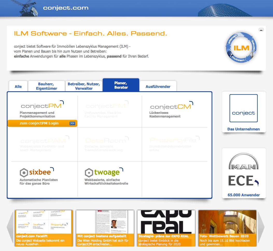 Screenshot der neuen conject-Website: Per Klick lässt sich das Angebot für Planer und Architekten anzeigen
