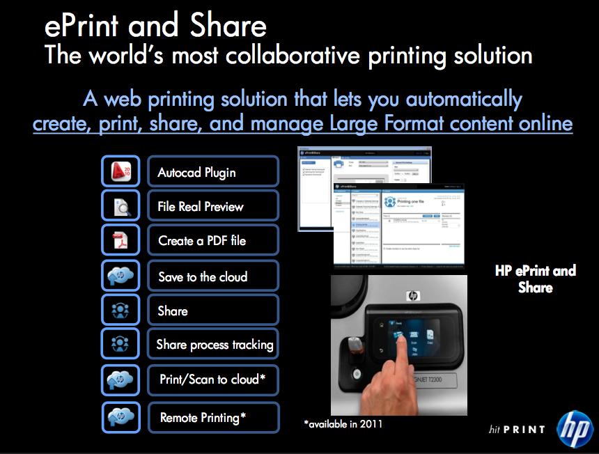 Ausschnitt aus der Produktpräsentation: Die Funktionen von ePrint & Share