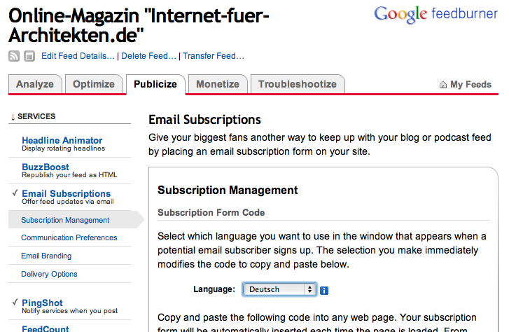Screenshot: Die Funktion Email Subscriptions von Feedburner