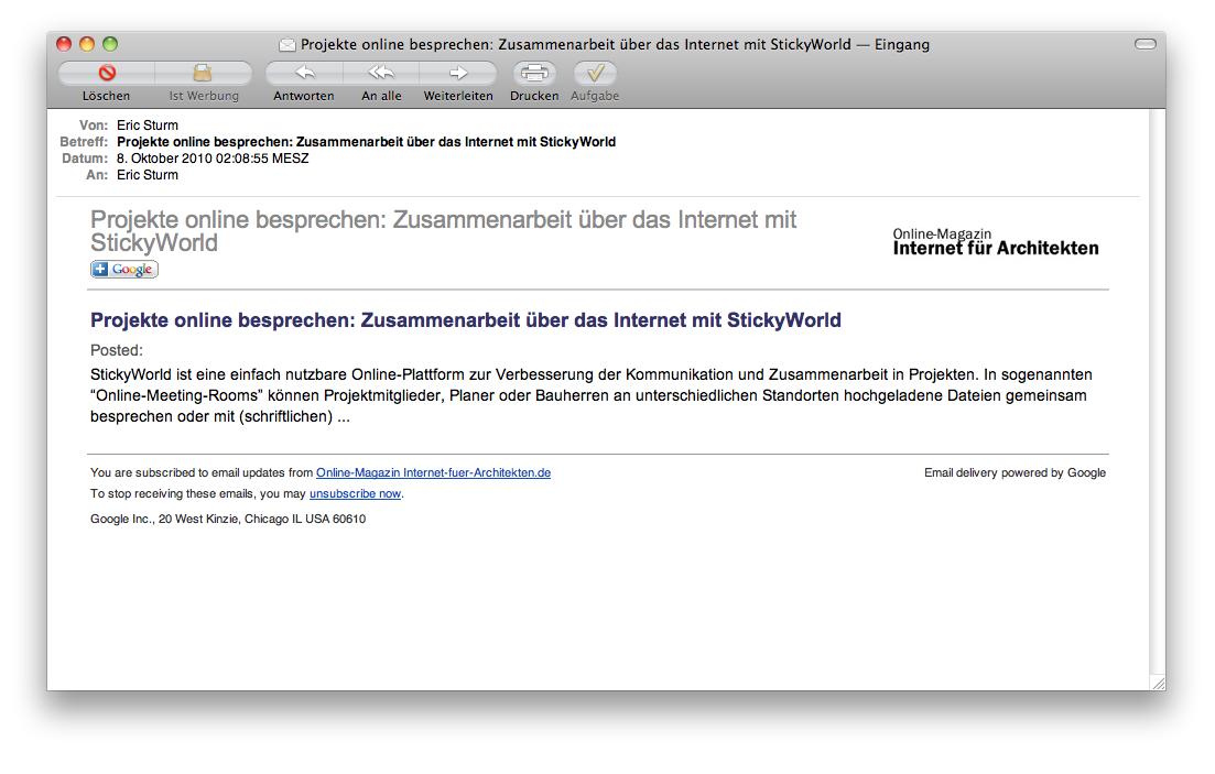 Screenshot: Auch Internet-fuer-Architekten.de nutzt Feedburner zum automatisierten Versand von E-Mail-Benachrichtigungen