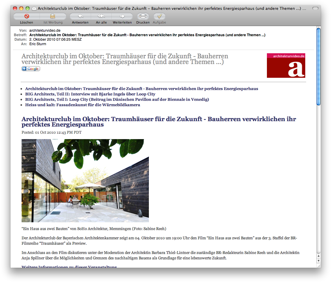 Screenshot: Ebenfalls per Feedburner kommen die neuesten Inhalte von architekturvideo.de ins Haus ...
