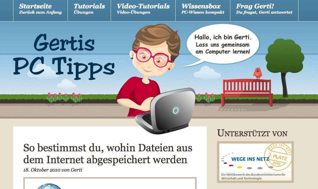 Screenshot: Gertis PC-Tipps (Ausschnitt Startseite)