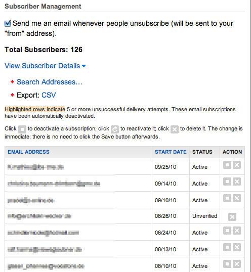 Screenshot: Ausschnitt der Empfänger-Liste für die Feedburner-E-Mail-Benachrichtigungen von Internet-fuer-Architekten.de