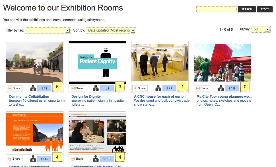 """Nutzungsbeispiel: Die öffentlich zugänglichen """"Rooms"""" der Agentur sliderstudio auf stickyworld.com"""