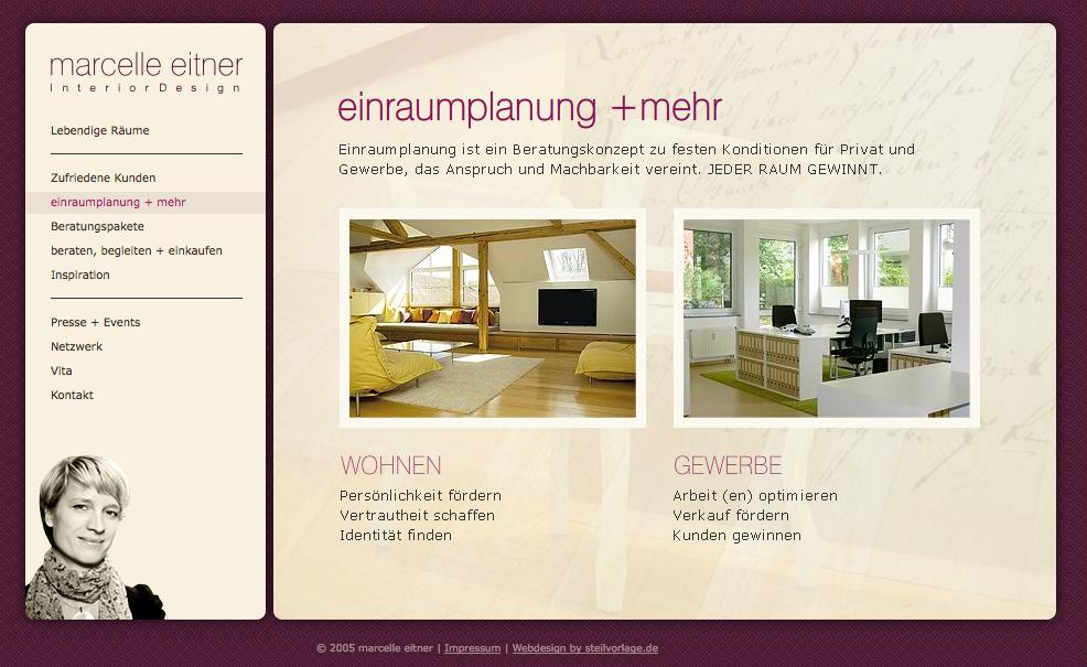 Screenshot von einraumplanung.de: Die Startseite von Marcelle Eitner