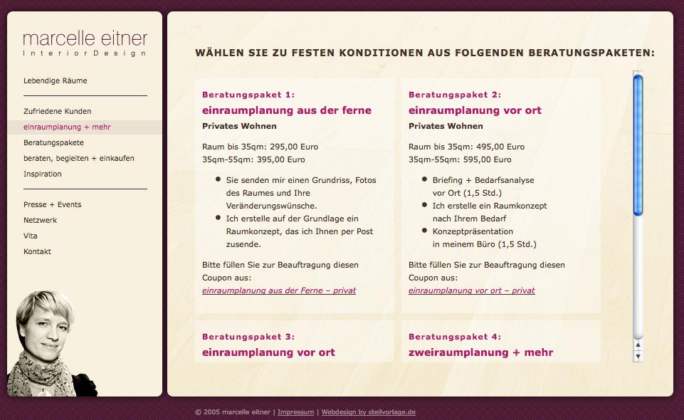 Screenshot: Die Beratungspakete von Marcelle Eitner