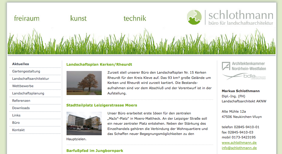 Screenshot der Landschaftsarchitekten-Website schlothmann.de