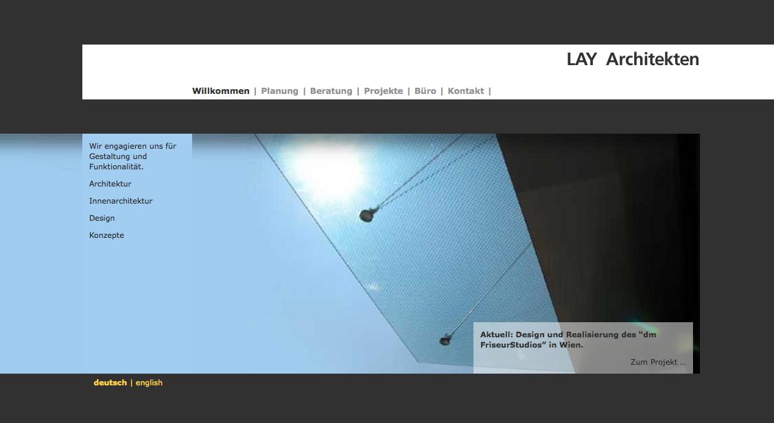 Screenshot: die neue Website von LAY Architekten Innenarchitekten, München