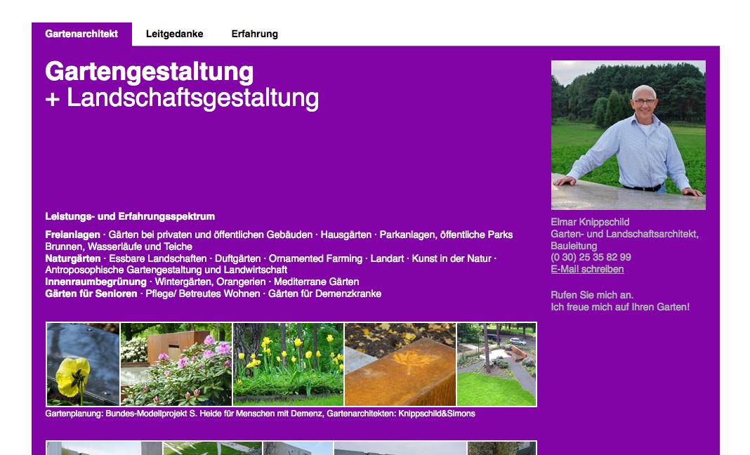 Screenshot der neuen Website von Elmar Knippschild, Gartenplaner und Landschaftsarchitekt aus Berlin