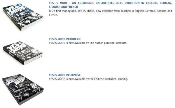 """Architekturvermittlung per Comic: Screenshot der verschiedenen Ausgaben von """"YES IS MORE"""" auf der Website big.dk"""" (2010)"""