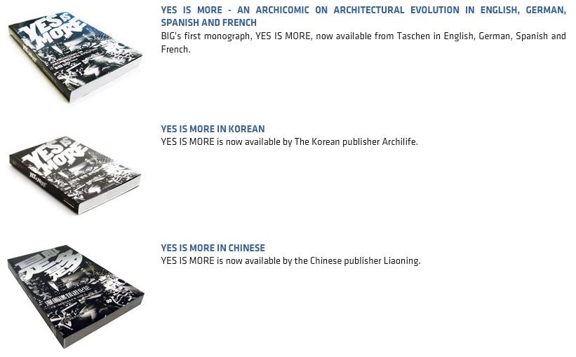 Screenshot von big.dk: Das Buch YES IS MORE in diversen Sprachen ...