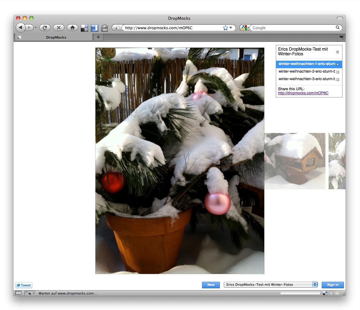 Eine Online-Bildergalerie, erstellt in 2 Minuten: Ergebnis meines kleinen DropMocks-Tests
