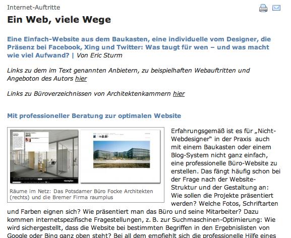 Screenshot: Fachartikel über Internet-Lösungen für Architekten von Eric Sturm im Deutschen Architektenblatt