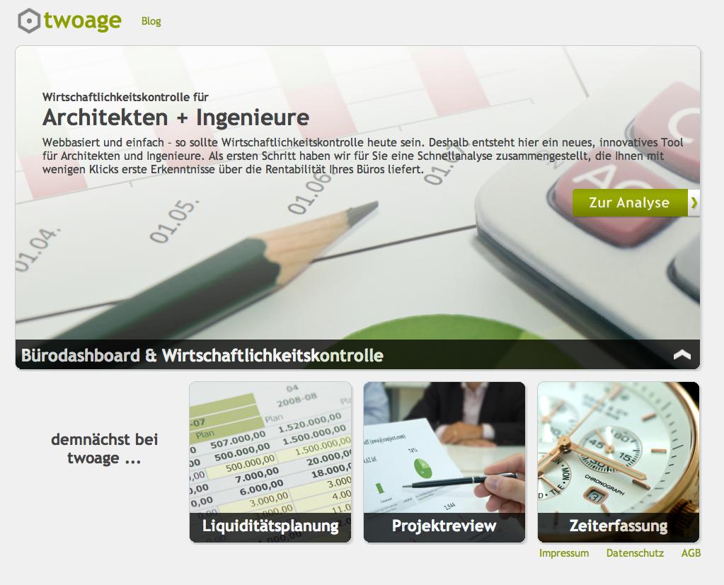 Screenshot: Die webbasierte Controlling-Software twoage