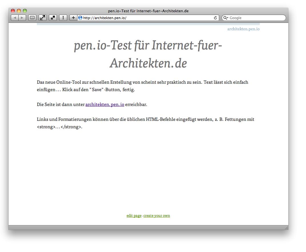 Screenshot: Eine mit pen.io erstellte Beispielseite für diesen Beitrag