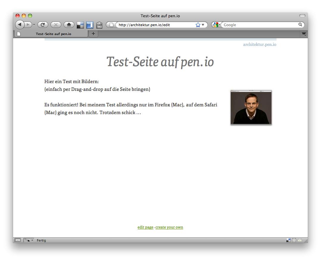 Screenshot: Das Bild wurde per Drag-and-drop in die Seite eingefügt.