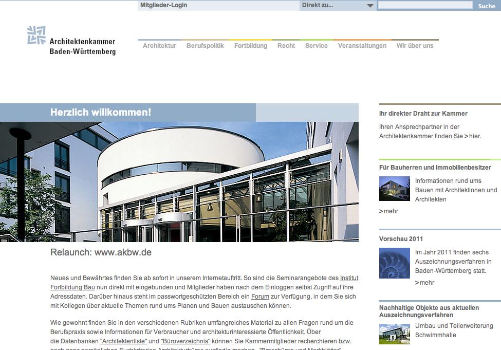 Screenshot: Die neue Startseite der Kammer-Website unter akbw.de