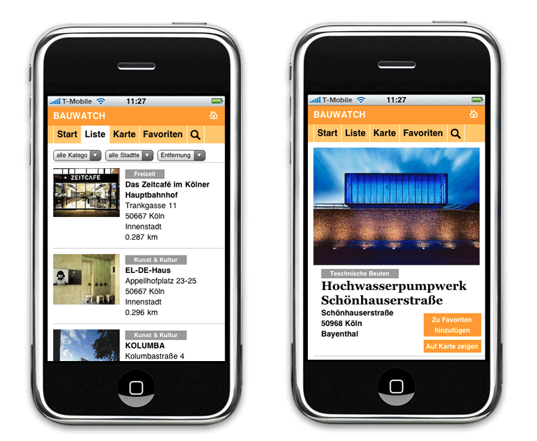 BAUWATCH: Screenshots der Web App von koelnarchitektur.de
