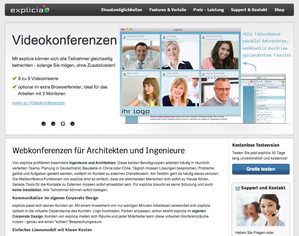 Screenshot: Webkonferenzen mit explicia