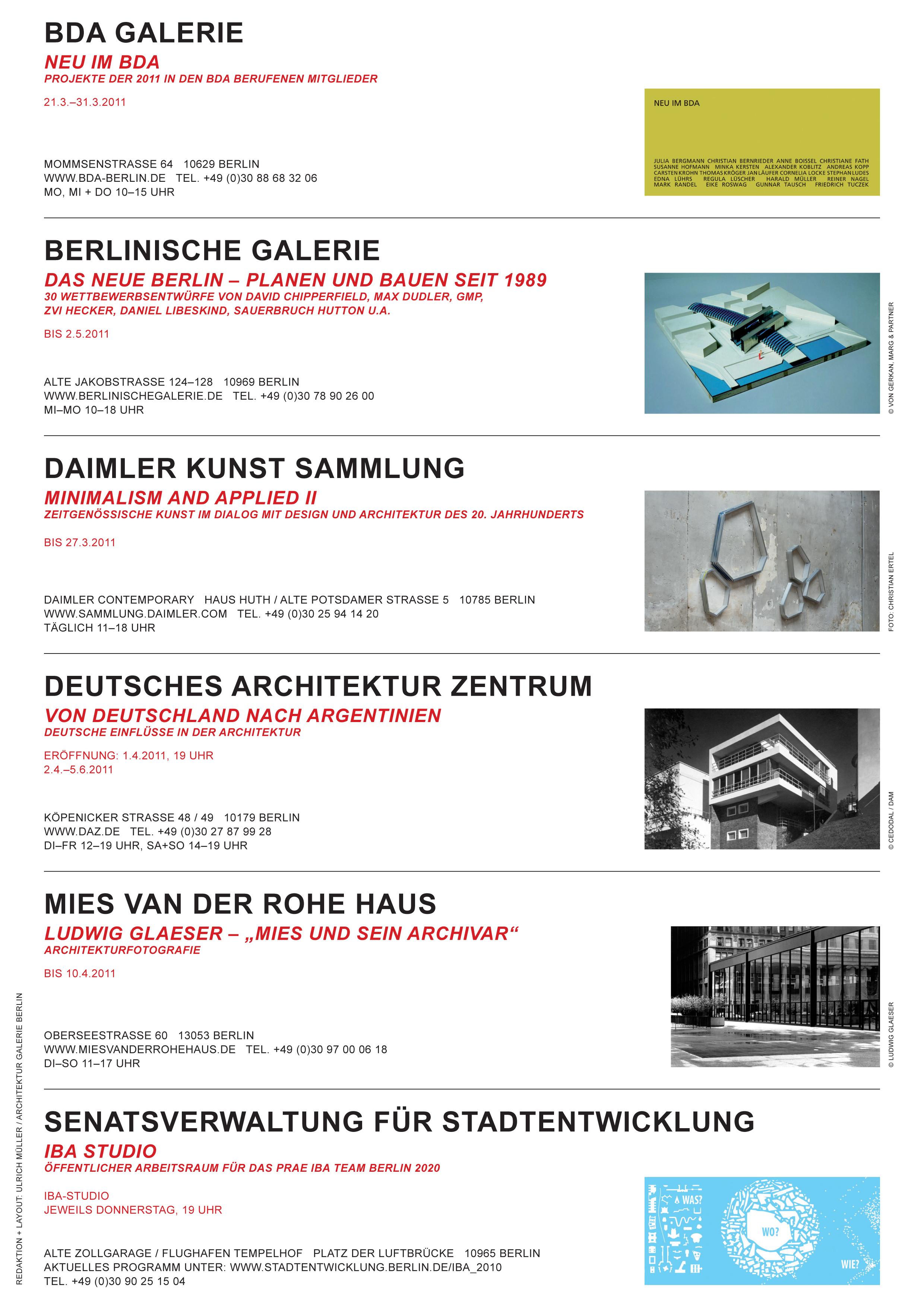 Architektur Ausstellungen Berlin von Ulrich Müller (Teil 2 von Ausgabe 03/04-2011)
