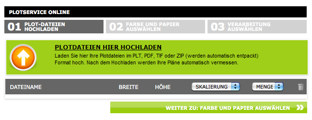 Screenshot von Repro Online (1): Auswählen der Plotdateien von der eigenen Festplatte