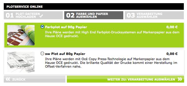 Screenshot von Repro Online (2): Farbe oder Schwarz-Weiß?