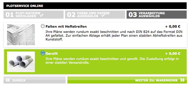 Screenshot von Repro Online (3): Gefaltet oder gerollt?