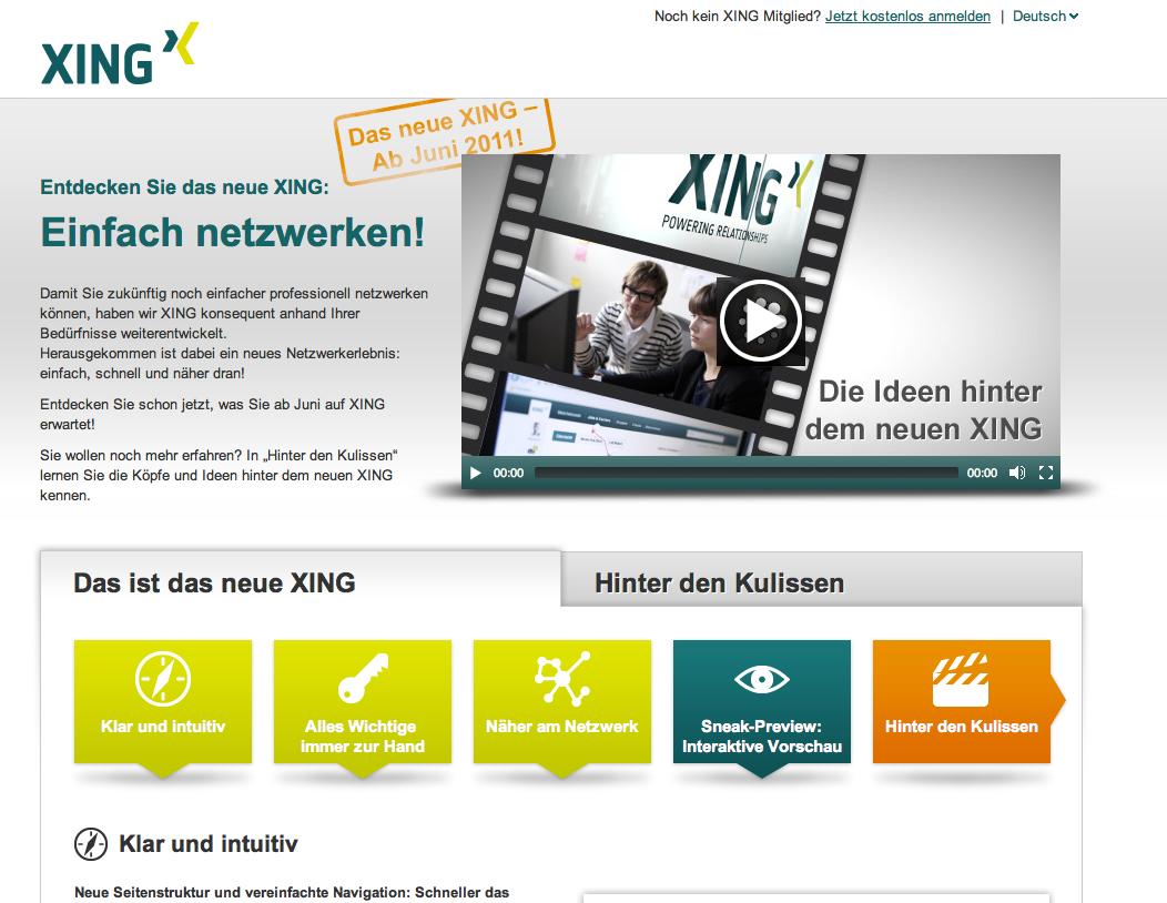 Screenshot der Seite whatsnew.xing.com (oben)