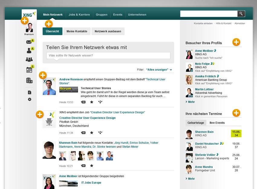 Screenshot: Vorstellung der neuen XING-Funktionen und des neuen Layouts auf whatsnew.xing.com