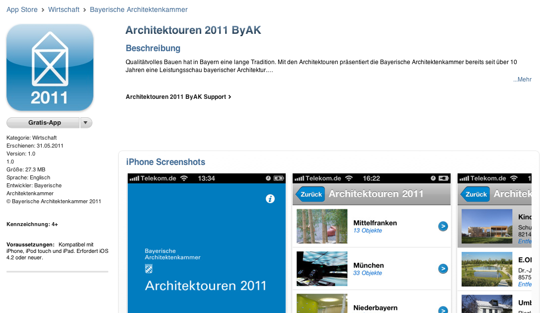Screenshot: Download-Seite der Architektouren-App auf iTunes