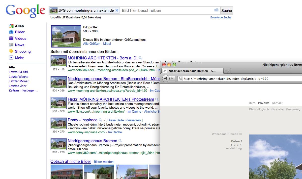 Screenshot: Die Google Bildersuche zeigt die Links zu Websites, auf denen das Projektfoto veröffentlicht wurde.