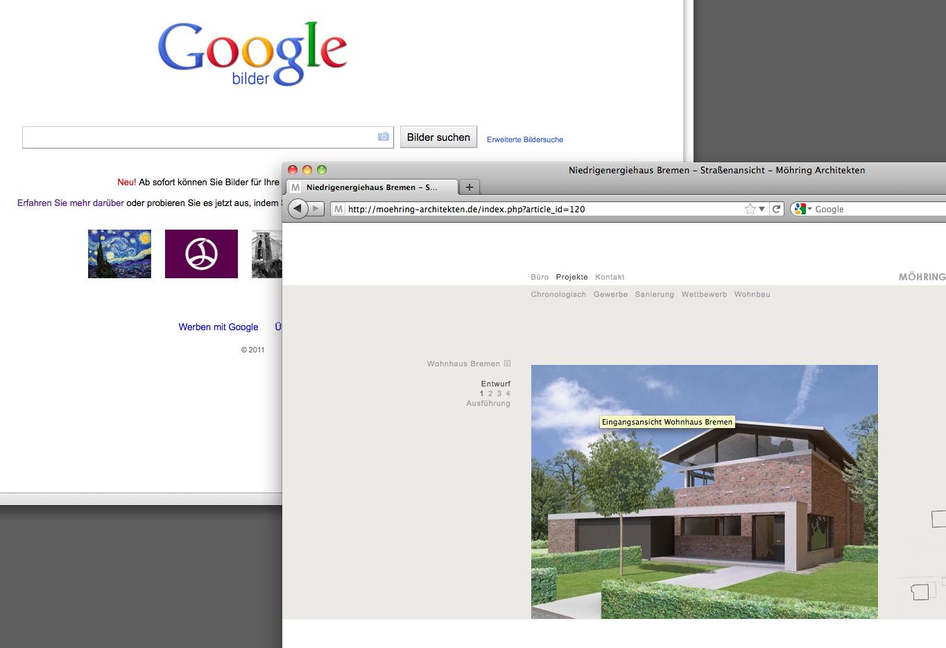 Screenshot: Das Projektfoto wird aus der Büro-Website (rechts) auf das Sucheingabefeld von images.google.de gezogen.