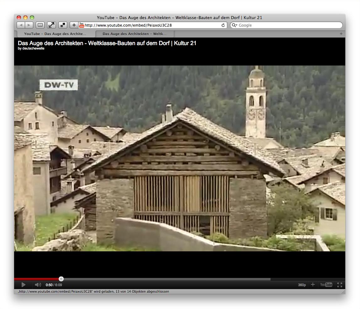 Screenshot: Ein Youtube-Video wird über die Embed-URL formatfüllend aufgerufen