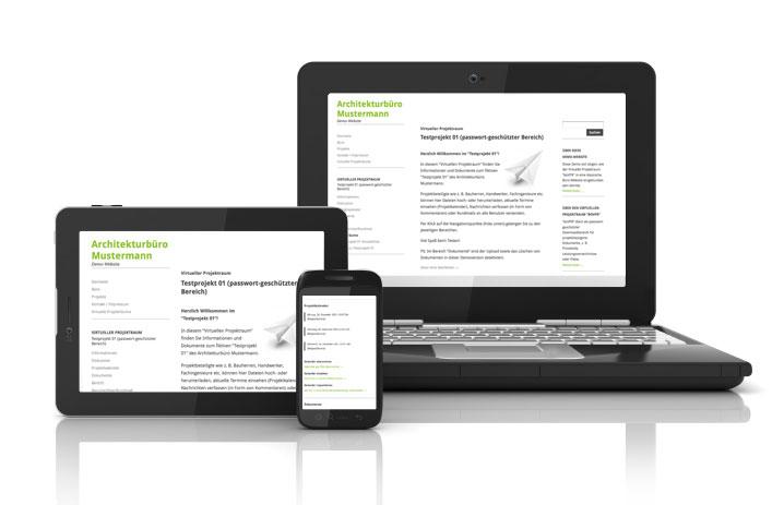 """Der Virtuelle Projektraum """"boVPR"""" auf der Demo-Website ist auch auf Tablet-Computern oder Smartphones nutzbar"""