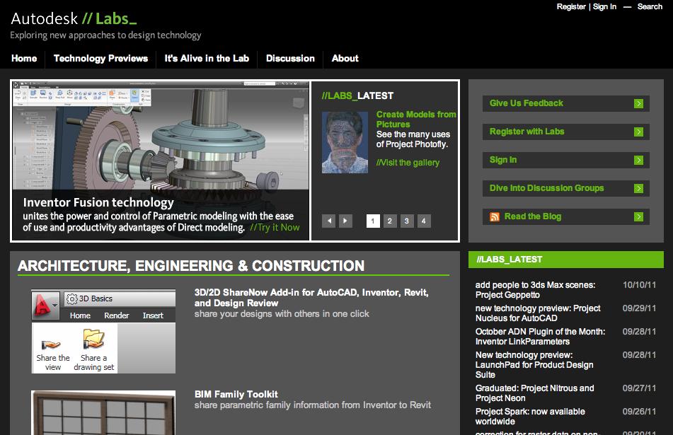 Screenshot: Neue Software zum kostenlosen Test in den Autodesk Labs