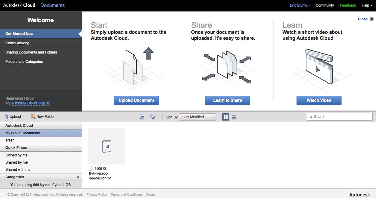 Screenshot: Dokumente online verwalten mit Autodesk Cloud
