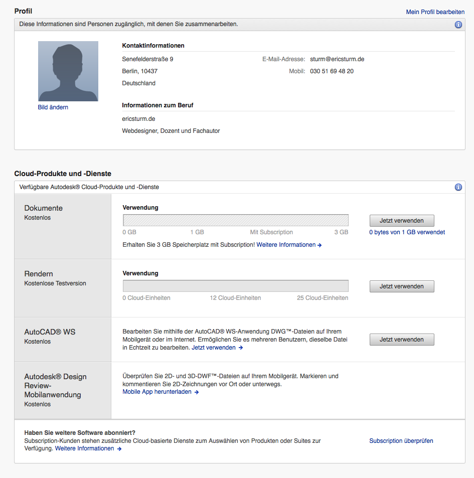 Screenshot: Mein (kostenloses) Autodesk-Konto mit einer Übersicht der genutzten Dienste