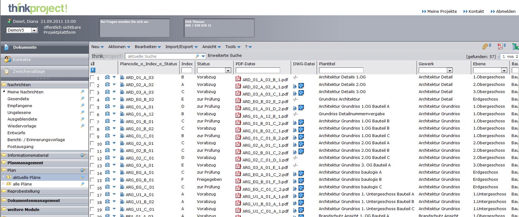 Screenshot: think project! in der Version 6.0
