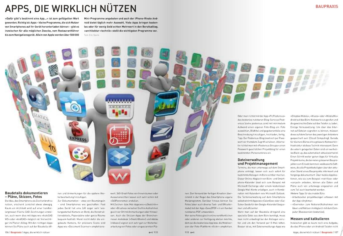 Screenshot: Der Artikel über Apps für Architekten auf architektur-technik.ch