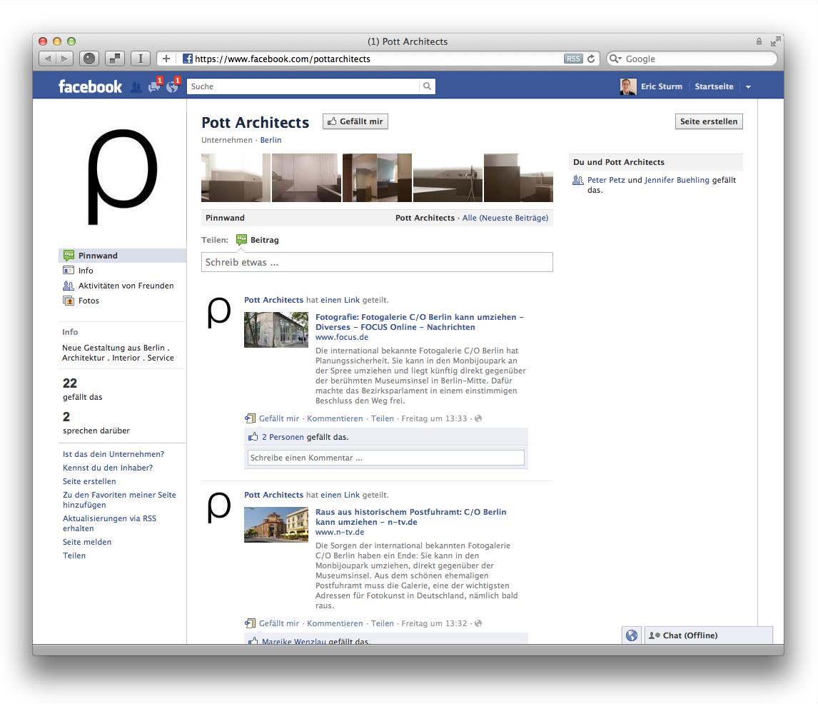 Screenshot: Die Facebook-Seite des Berliner Büros Pott Architects