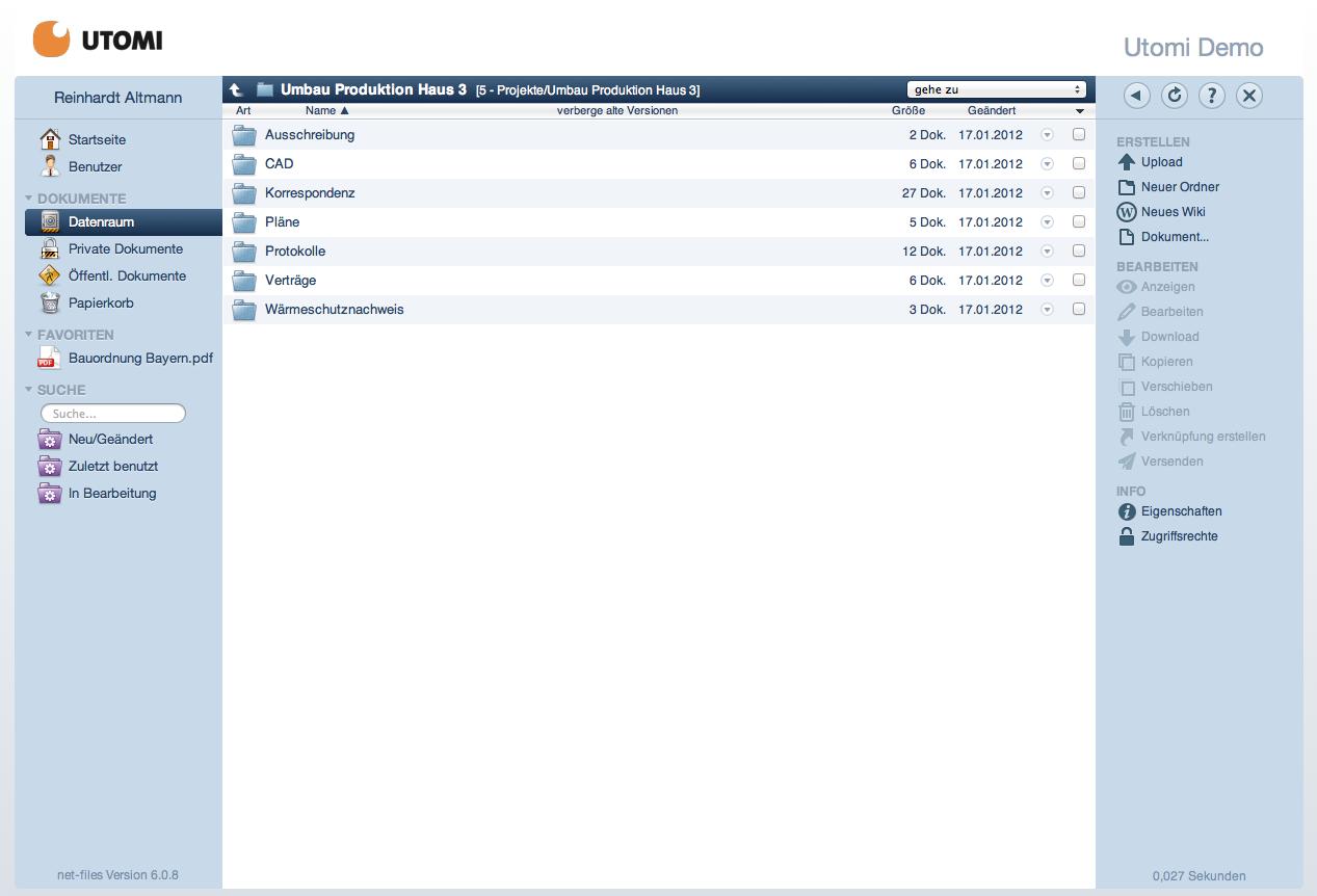 Screenshot: Ordneransicht im net-files-Datenraum eines Bauprojekts