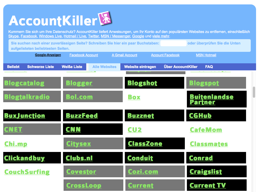 Screenshot: Ausschnitt aus der Website-Liste auf AccountKiller.com