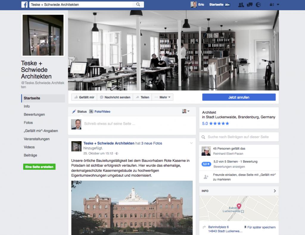 Screenshot der Facebook-Seite von Teske + Schwiede Architekten (November 2016)