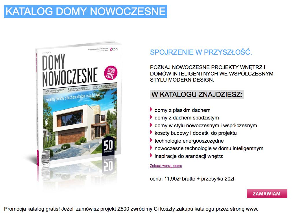 Screenshot: Werbung für eine Publikation des polnischen Fertighausanbieters Z500